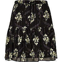 Black floral print tiered mini skirt