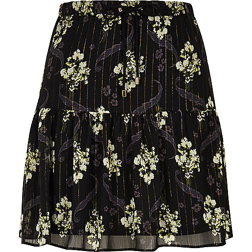 Black floral print tiered mini skirt