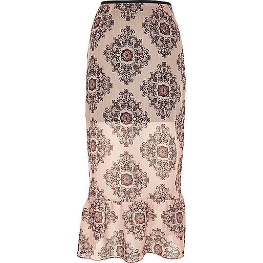 Jupe mi-longue motif cachemire rose à ourlet plongeant