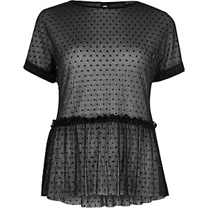 Black polka dot mesh frill top