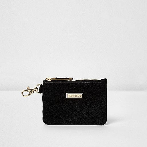 Portefeuille porte-clés en velours noir