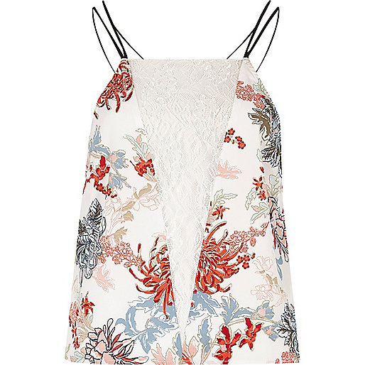 White floral lace insert cami pyjama top