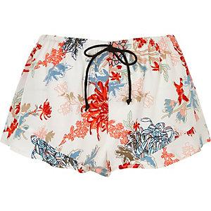 White floral print frill pajama shorts