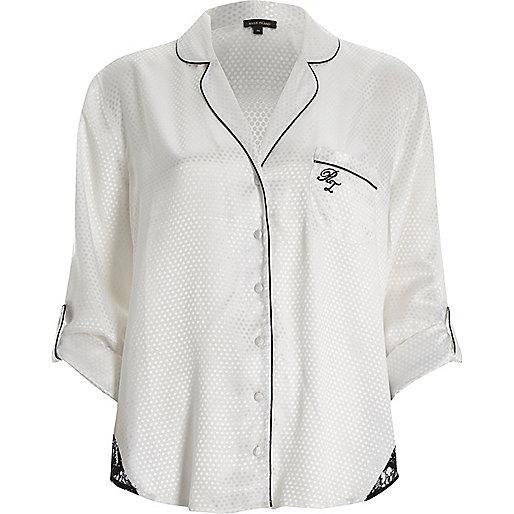 White dobby lace hem pajama shirt