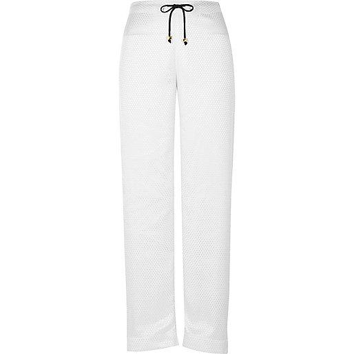 White dobby pajama pants