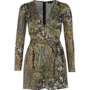 Green print wrap playsuit