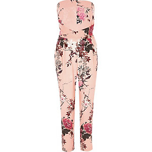 Roze bandeau-jumpsuit met bloemenprint
