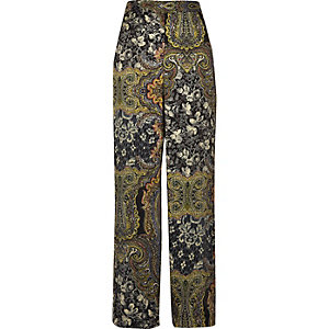 Green paisley print soft high rise trousers