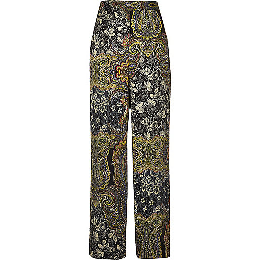 Green paisley print soft high rise pants