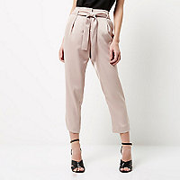 Petite pink soft tie tapered trousers