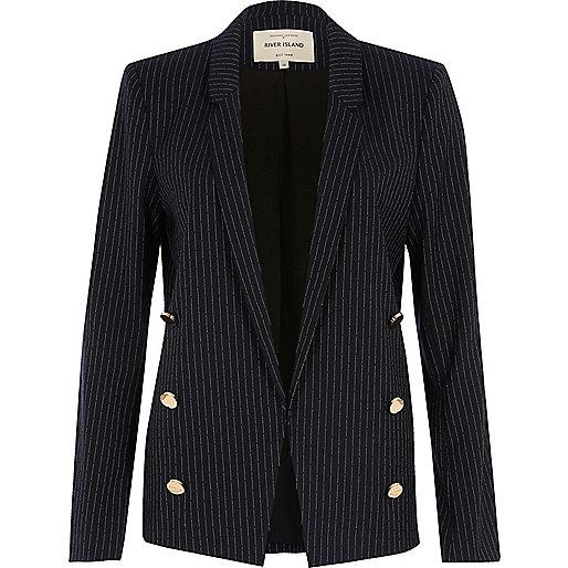 Navy pinstripe button blazer