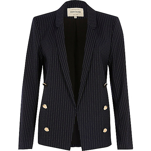 Navy pinstripe button blazer