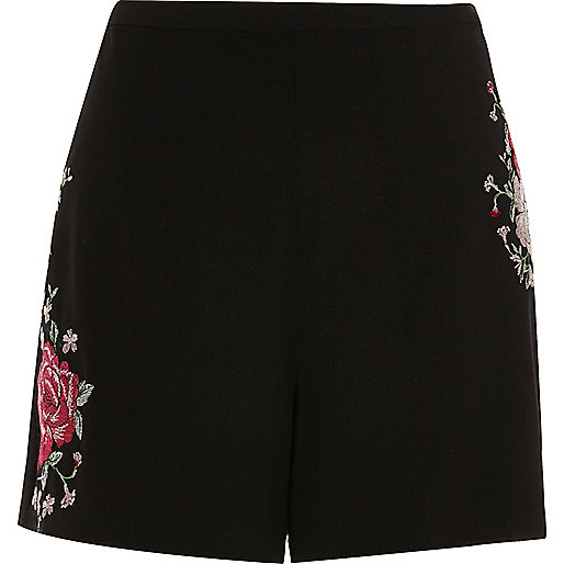 Black embroidered high waisted shorts