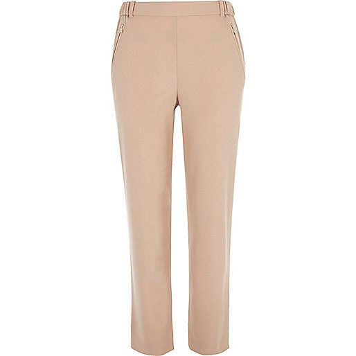 Pink zip detail pants