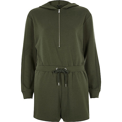 Khaki hooded zip placket romper
