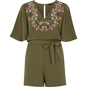Khaki green embroidered satin playsuit