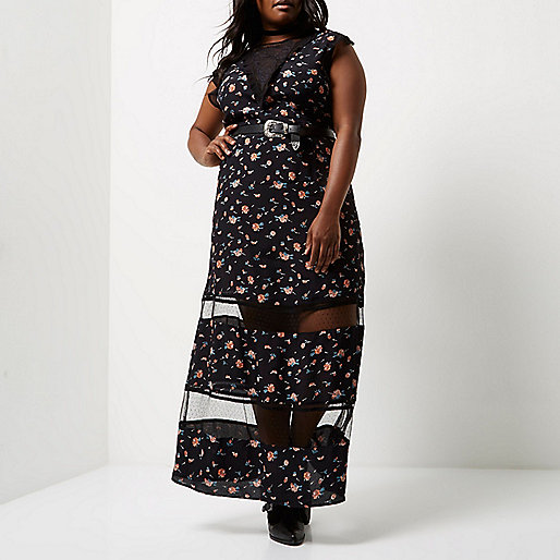 Plus black floral print sheer panel dress