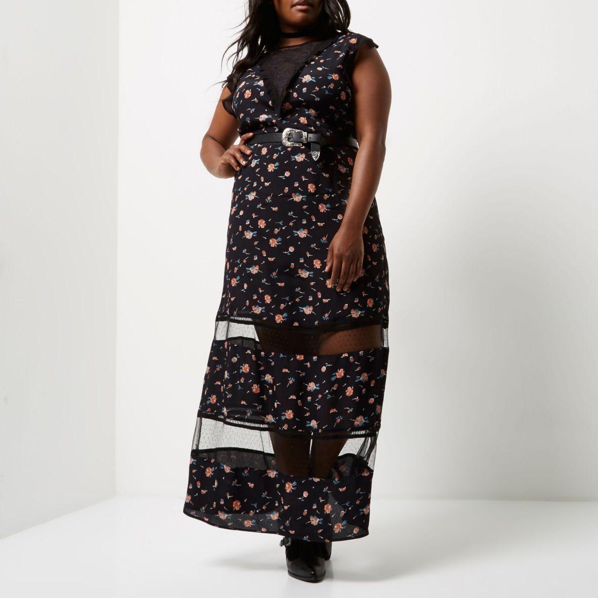 Plus black floral print sheer panel dress