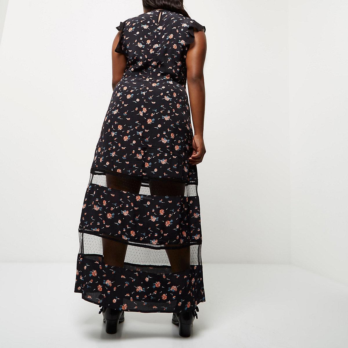 huge discount 254ae f3c14 Plus black floral print sheer panel dress