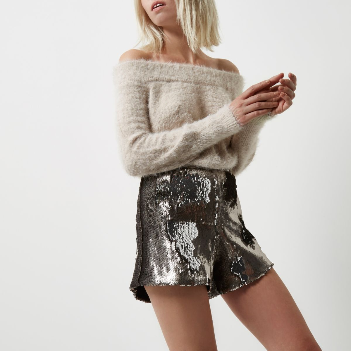 Petite silver sequin high rise shorts