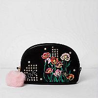 Trousse à maquillage noire à fleurs brodées
