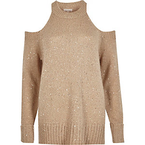 Nude sequin cold shoulder sweater