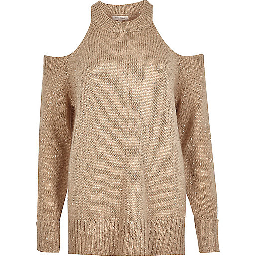 Nude sequin cold shoulder jumper