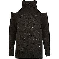 Schwarzer, paillettenverzierter Pullover mit Schulterausschnitten