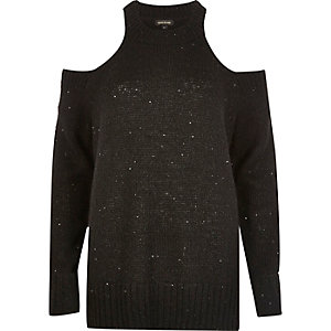 Black sequin cold shoulder sweater