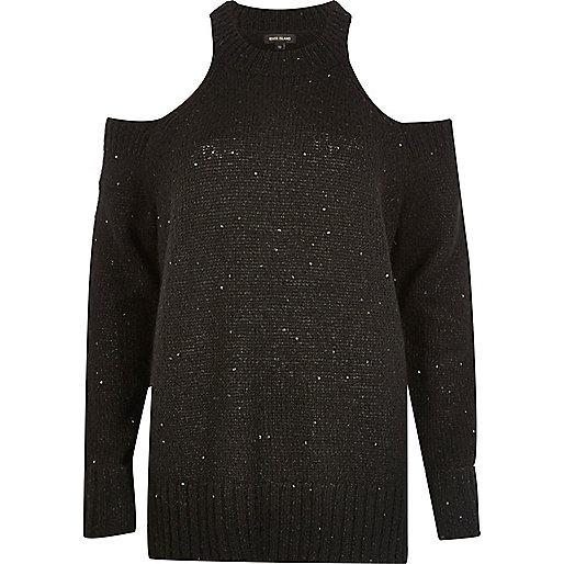 Black sequin cold shoulder sweater
