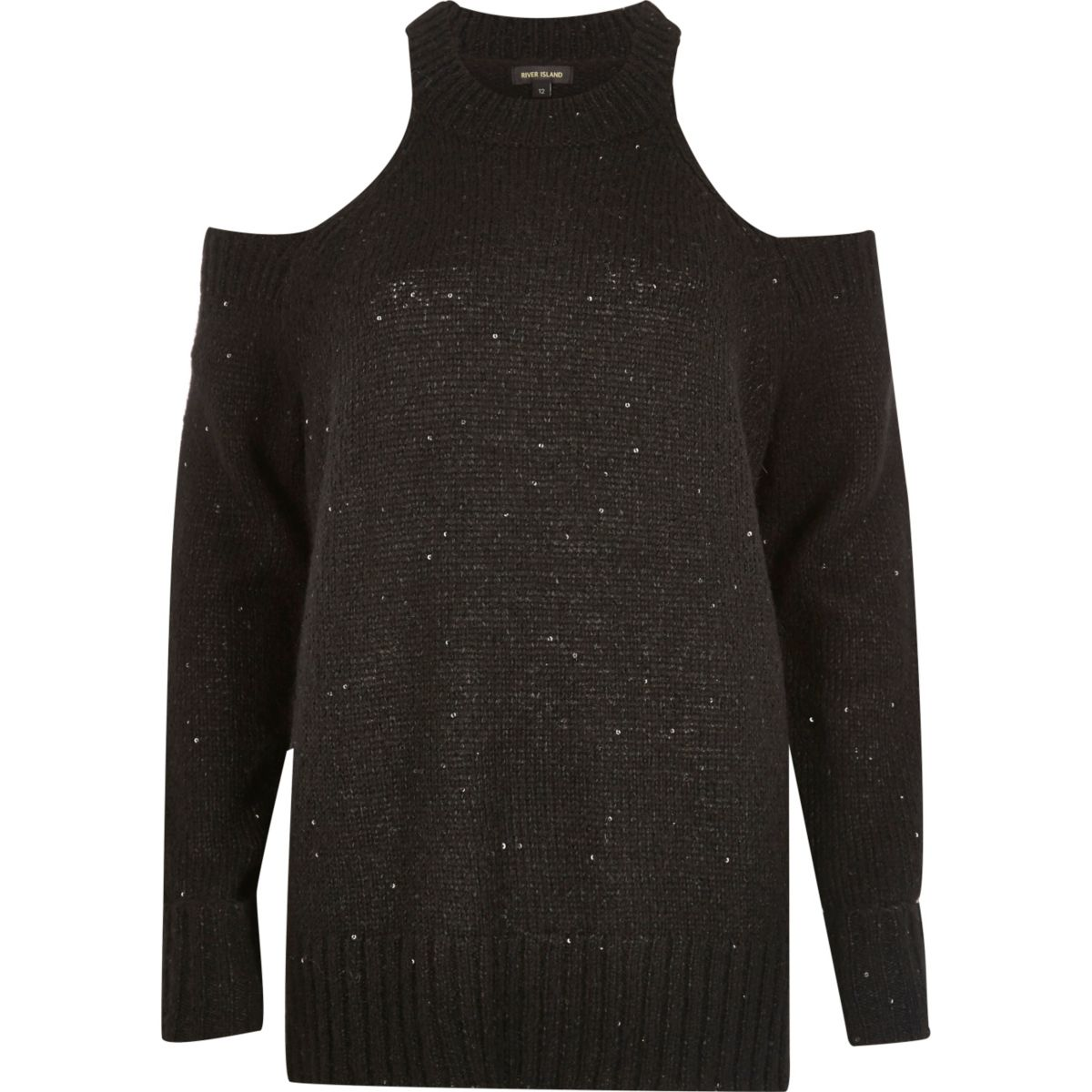 Pull noir à épaules dénudées orné de sequins