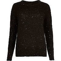 Black knit sequin sweater