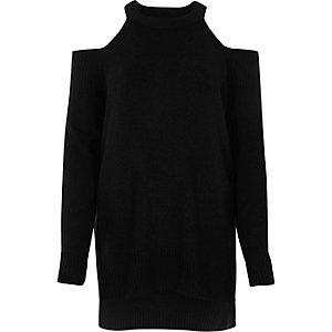 Black cold shoulder knit sweater