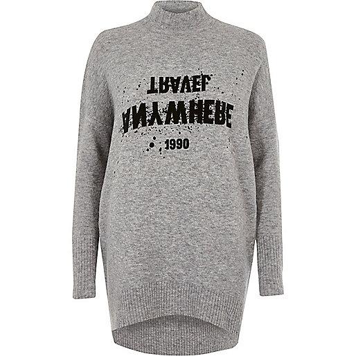 Grey print long turtle neck sweater