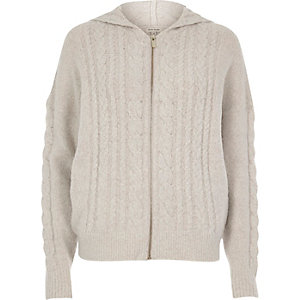 Light grey cable knit zip front hoodie