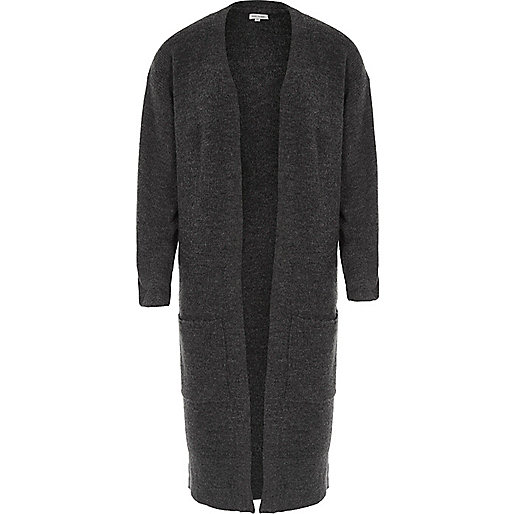 Charcoal longline ribbed cardigan