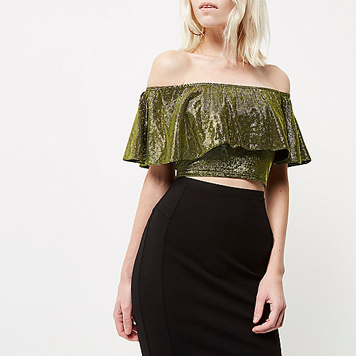 Petite gold deep frill bardot crop top