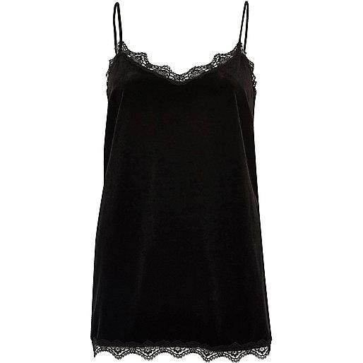 Black velvet lace cami top