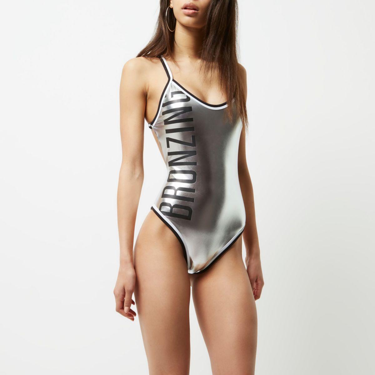 Silver metallic 'bronzing' swimsuit