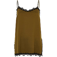 Khaki green lace trim cami top