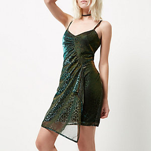Petite metallic green reptile print dress