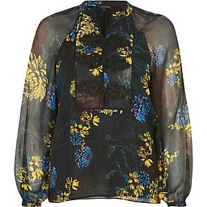 Green floral print chiffon blouse