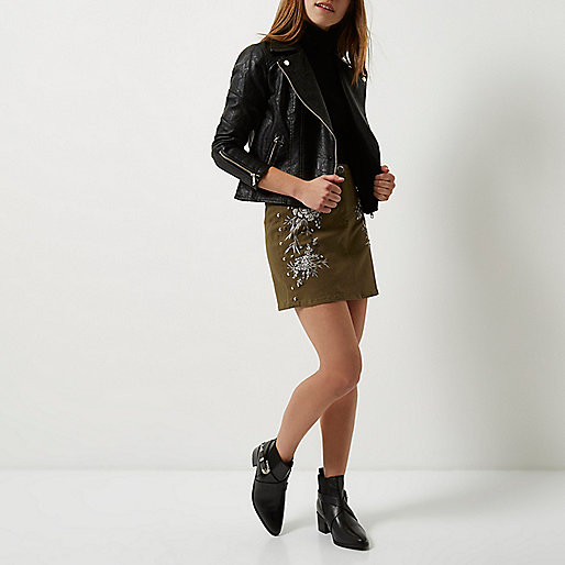 Petite Khaki embroidered floral mini skirt