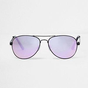 Lunettes de soleil aviateur effet miroir lilas