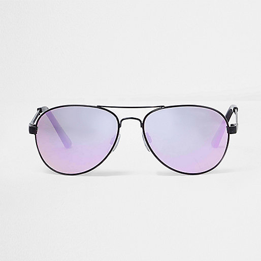 Lilac mirrored aviator sunglasses
