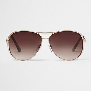 Gold tone brow bar brown tinted sunglasses