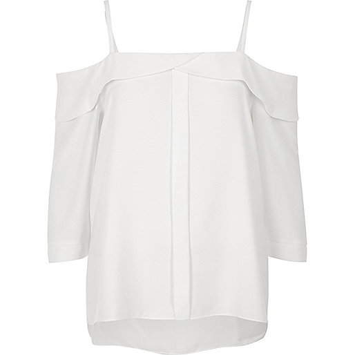 White placket cold shoulder top