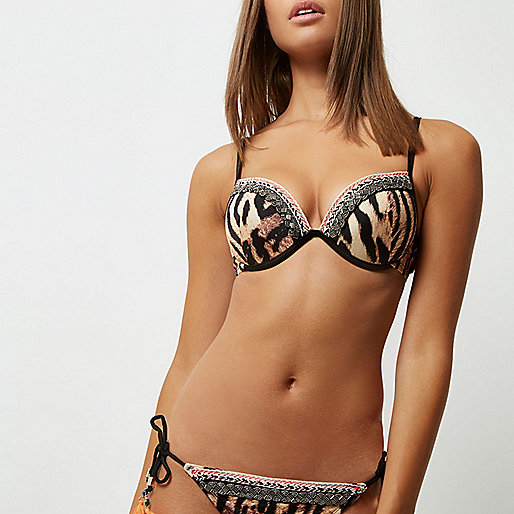 Brown tiger print embellished bikini top