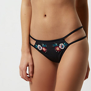 Black floral embroidered bikini bottoms