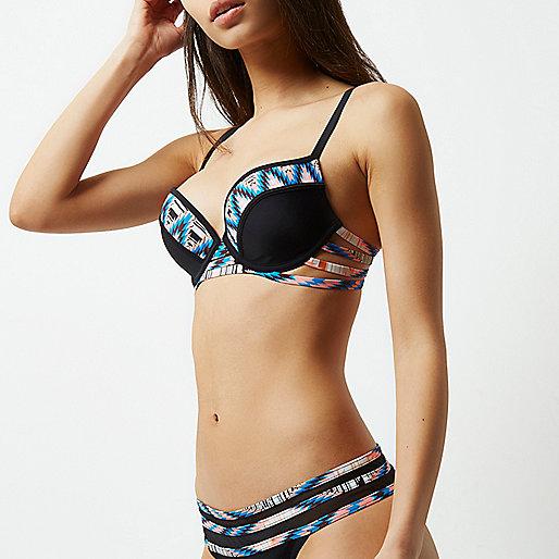 Zwarte diepuitgesneden bikinitop met bandjes en geometrische print